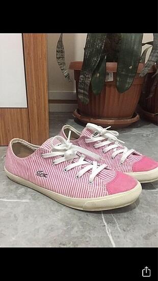 Lacoste pembe çizgili ayakkabı