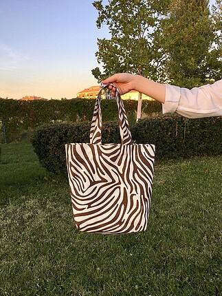 Zebra desenli çanta