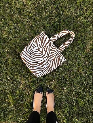 Beden kahverengi Renk Zebra desenli çanta