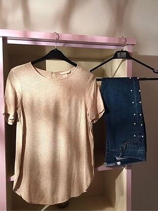 İncili jeans ve bluz ikili kombin