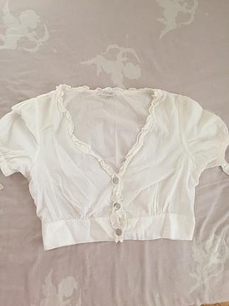 Mini önden düğmeli bluz