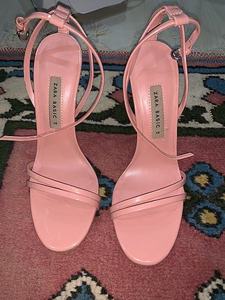 Zara Zara pudra pembe topuklu ayakkabi