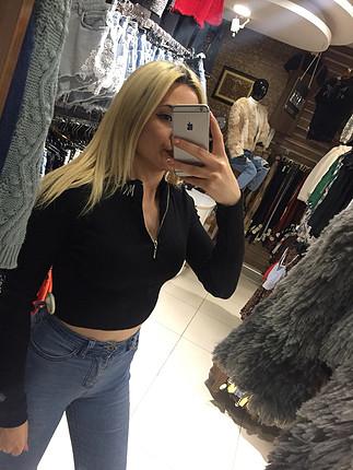 Göbek açık uzun kollu kazak