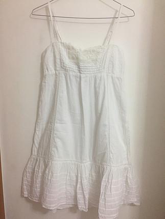 Mango Beyaz askılı elbise