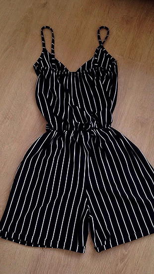 Zara Siyah beyaz çizgili tulum