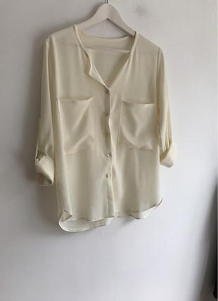 Krem rengi bluz