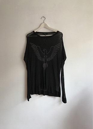 Transparan kuş figürlü bluz