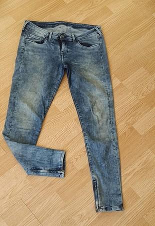 Mavi jeans dar paça fermuarli kot pantolon