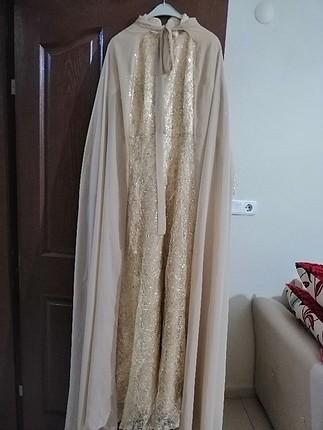 s Beden altın Renk abiye gece elbisesi tesettür