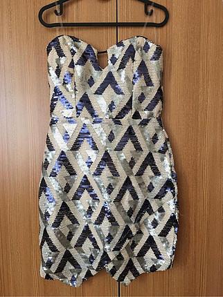 Payetli Straplez Mini Elbise