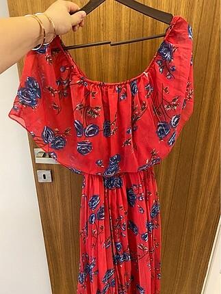 Diğer Kırmızı kayık yaka etek kısmı pileli elbise