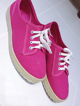 Pembe hasır detay spor ayakkabı