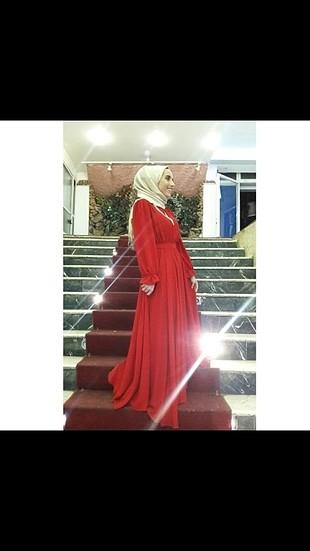 m Beden kırmızı tesettür elbise