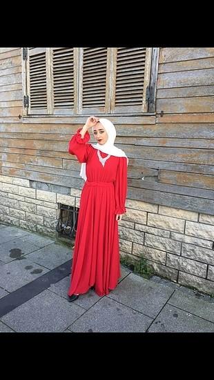m Beden kırmızı Renk kırmızı tesettür elbise