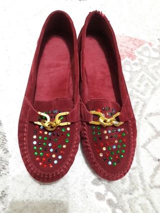 Kadife bordo ayakkabı