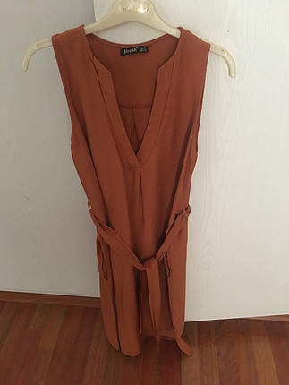 s Beden bronz Renk V yaka elbise