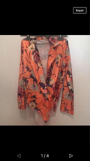 s Beden turuncu Renk Çiçekli bluz
