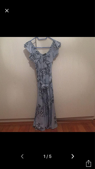 BeBe Çiçekli mavi elbise