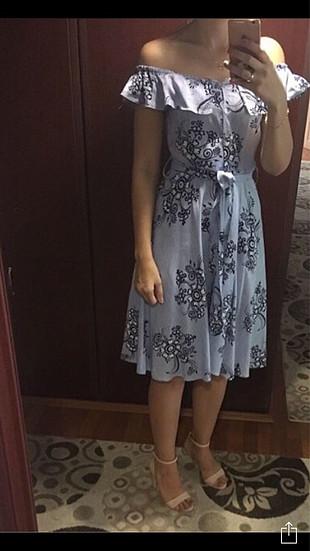 s Beden mavi Renk Çiçekli mavi elbise
