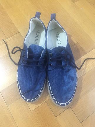 Yargıcı hasır taban kot kumaş ayakkabı