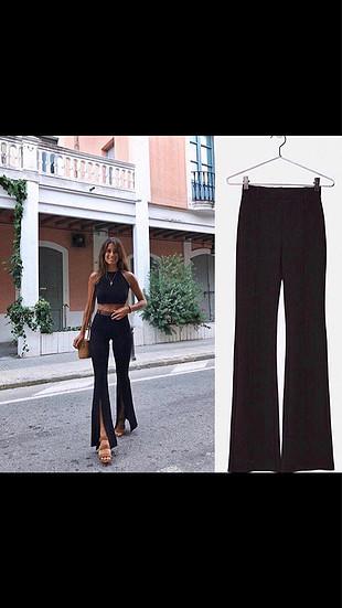 s Beden siyah Renk İspanyol paça yırtmaçlı pantolon
