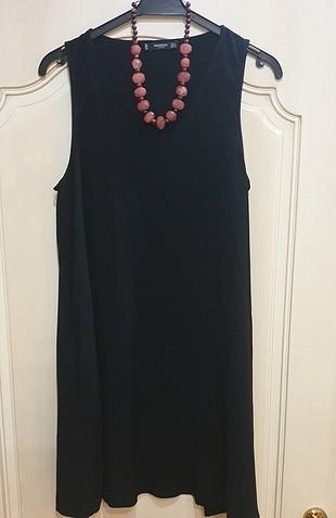 MANGO V yaka siyah ince elbise