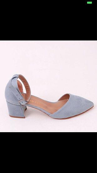 Mavi Kalın Topuklu Ayakkabı ????