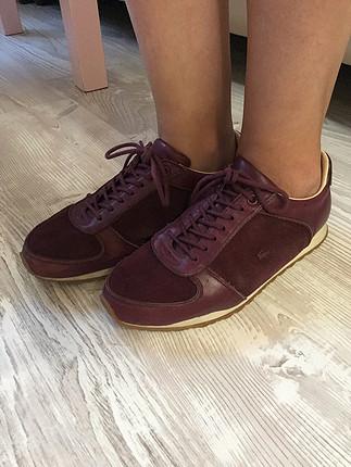 Lacoste orjinal bordo spor ayakkabı