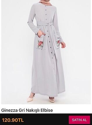 Cep detaylı gri elbise