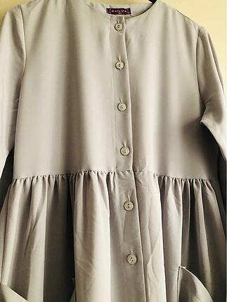 42 Beden gri Renk Cep detaylı gri elbise