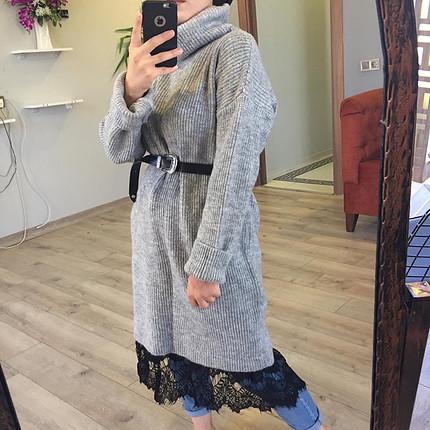 Zara Gri dantel detaylı tunik elbise