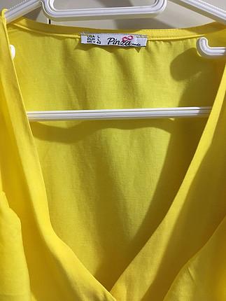 l Beden Sarı fırfırlı bayan gömlek