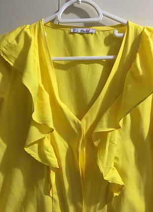 l Beden sarı Renk Sarı fırfırlı bayan gömlek