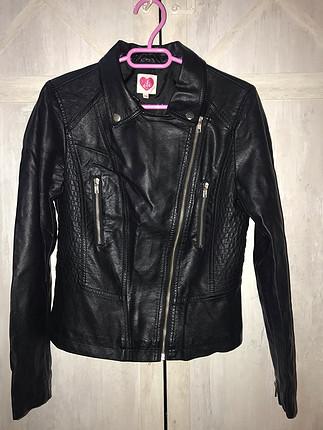 Siyah koton deri ceket