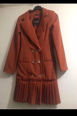 Kiremit Rengi Atlas kumaş ceket elbise#Yeni