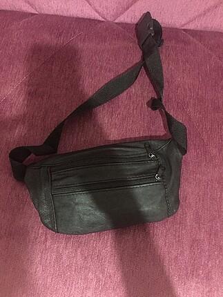 Siyah vintage bel çantası
