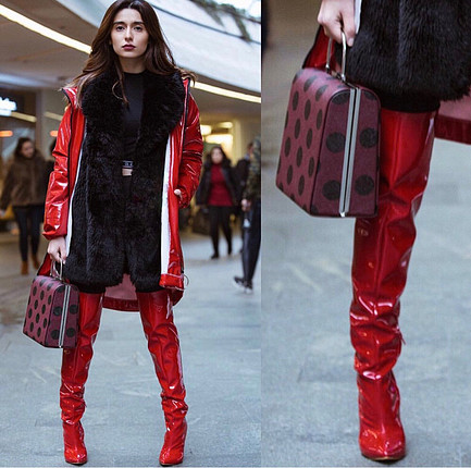 Kırmızı topuklu parlak çizme