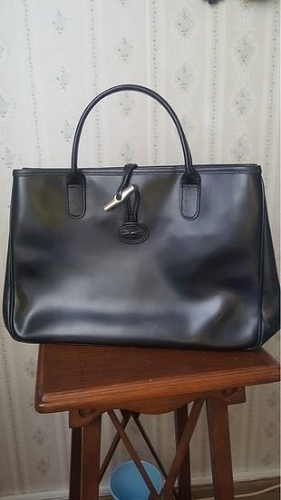Longchamp siyah deri çanta