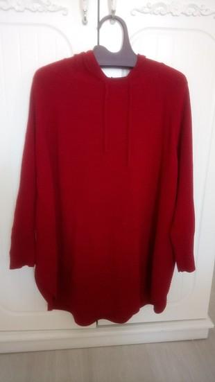 triko tatlı kırmızı panço bluz