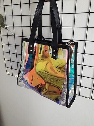 Beden çeşitli Renk hologram çanta