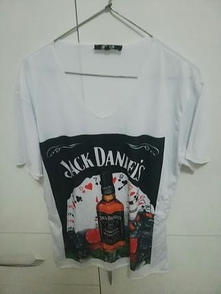 Jack Daniels Baskili Beyaz Bayan Tişört