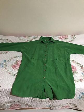Yeşil spor gömlek tunik