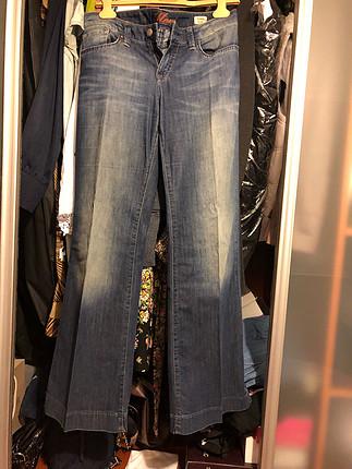 Mavi jean bol paça uzun pantolon