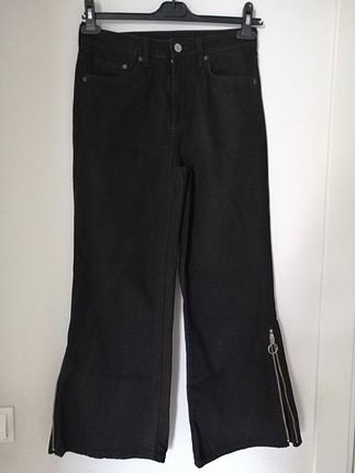 Culotte paça fermuar detaylı siyah pantolon