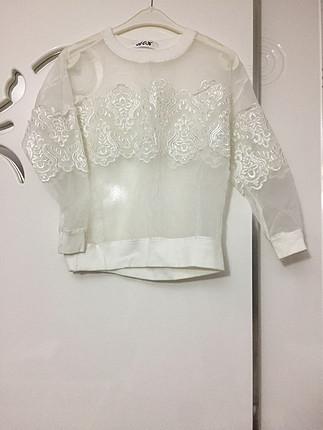 Şifon dantelli bluz