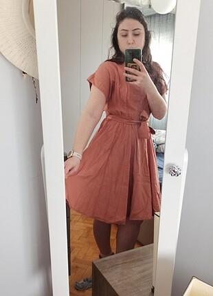 Somon rengi kısa elbise
