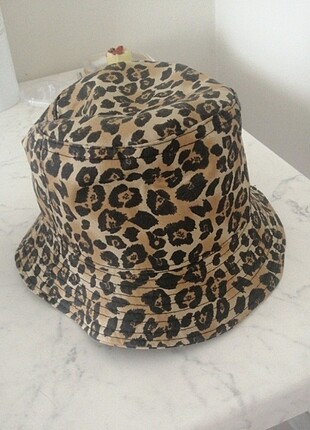Leopar bucket hat kova şapka