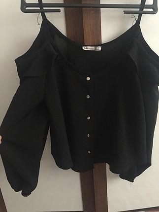 Siyah dekolte bluz