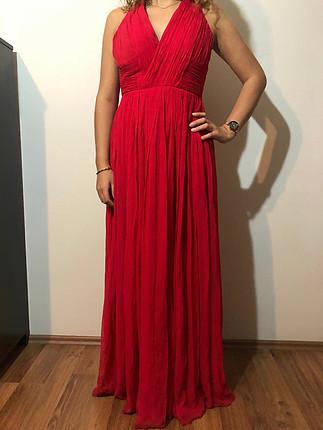 38 Beden kırmızı Renk Kırmızı mango abiye elbise