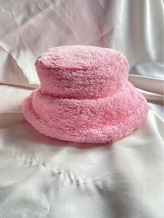 Peluş pembe bucket şapka